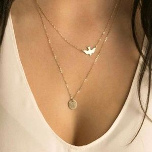 Jewelry - Dainty gold dove double layered coin necklace